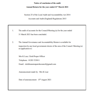 conclusion of audit 31st March 2021